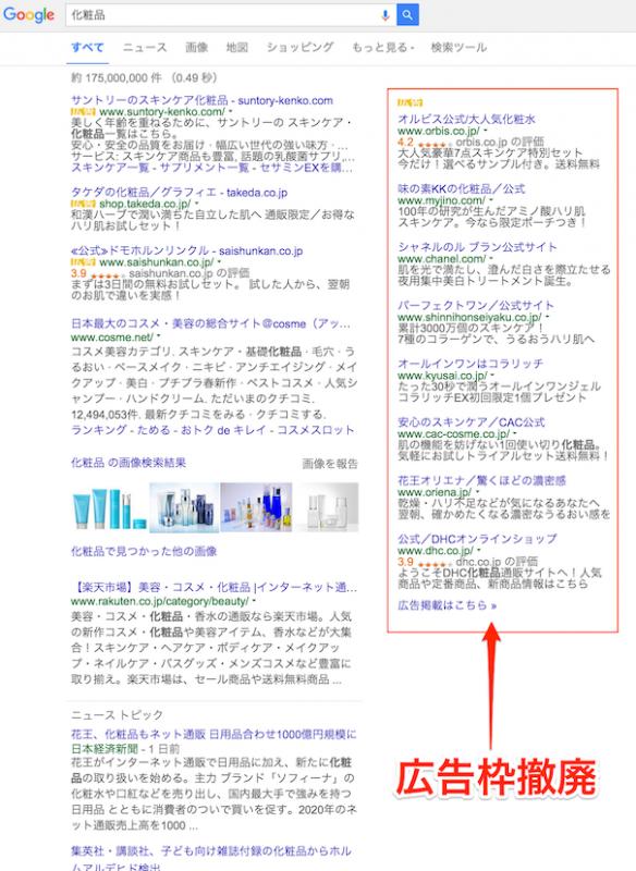 Google広告枠撤廃